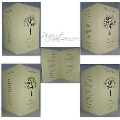 Personalised Ivory A5 Wedding Order Of Service Booklet Tree Love Bird Design