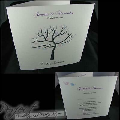 Personalised White Wedding Day And Or Evening Sidefold Invitations In 15 Colours
