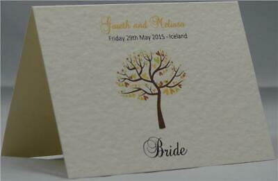 Wedding Table Party Ivory Personalised Guest Place Name Cards Tree And Love Bird