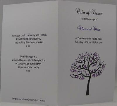 Personalised White A6 Wedding Order Of Service Booklet Tree And Love Bird Design