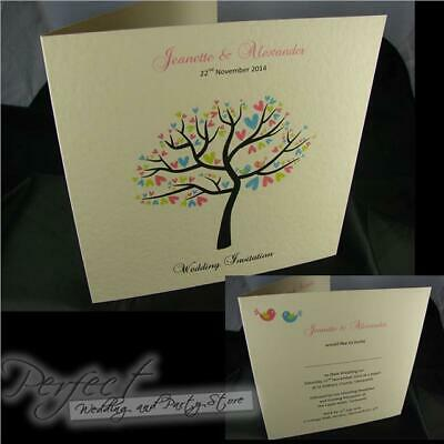 Personalised Ivory Wedding Day Or Evening Love Bird Tree Side Fold Invitations