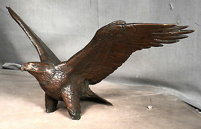 Vintage Mid Century Modern Gilroy Roberts BRONZE Eagle Statue AS IS 1975 Signed
