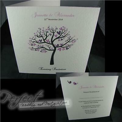 Personalised White Wedding Evening Reception Side Fold Invitations And Envelopes