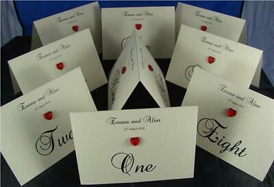 Personalised Ivory Or White Wedding Tent Style Table Number Name Diamante Card