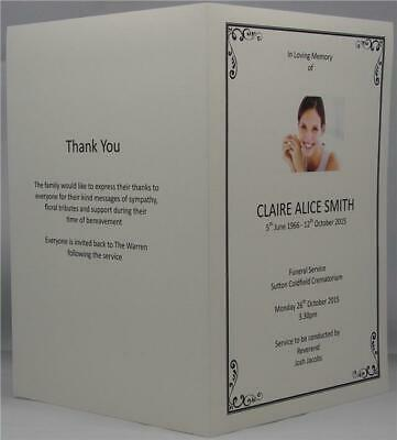 Personalised Photo Ivory Or White A5 Funeral Memorial Order Of Service
