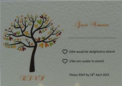 Personalised White Wedding RSVP Inserts Tree and Love Bird Design In 15 Colours