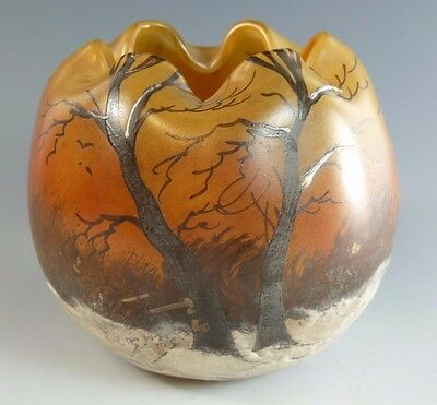 LEGRAS Glass - France - Winter Scene Vase