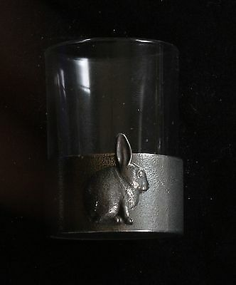 Rabbit Shot Glass Pewter Based Round 50ml Wildlife Gift