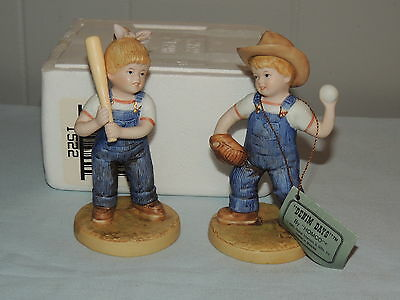 Homco Denim Days Figurine #1522 Let's Play Ball Mint with Box