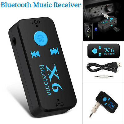 X6 Wireless Bluetooth Audio Receiver Stereo Music Car Adapter & Mic 3.5mm AUX UK