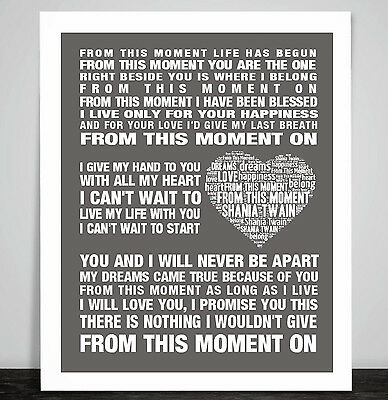 Shania Twain From This Moment Love Song Lyric Art Print Poster