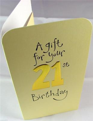 21st Birthday Money Wallet Gift Card Voucher Present Cream and Gold
