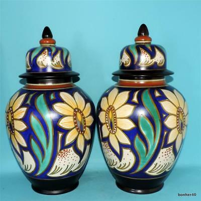 2 Gouda Zuid-Holland Vintage Art-Crafts Dutch Folk Art Deco 'gaasp' Covered Vase