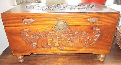 Beautiful Oriental Chinese Carved Camphor Wood Box Chest Ottoman Blanket Box