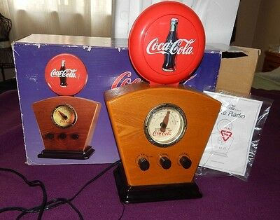 WORKING COCA COLA Advertising AM/FM Radio with Lighted Dial &  Globe W/orig Box