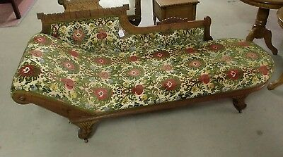 Vintage Oak Carved Fainting Couch Sofa