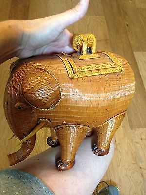 Vintage Shanghai Handcrafts Oriental Basket Elephant With Lid And Free Shipping
