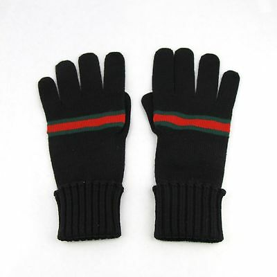 New Authentic Gucci Black Wool Gloves with GRG Web 294732 1066