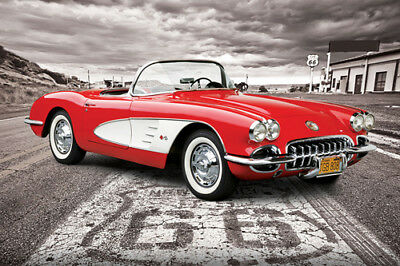 Chevrolet Corvette 1959 ON ROUTE 66 Autophile Profile Cool Car Wall POSTER