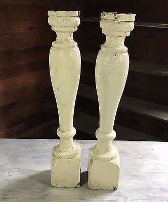 Two(2) RECLAIMED Wood Candlesticks SHABBY Candle Holders Antique Cream 413-17