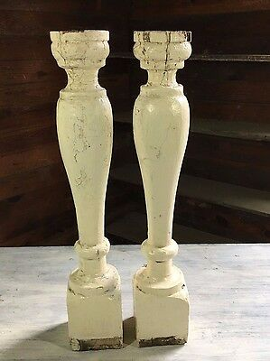 Two(2) RECLAIMED Wood Candlesticks SHABBY Candle Holders Antique Cream 415-17