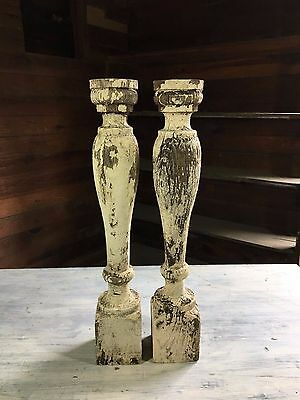 Two(2) RECLAIMED Wood Candlesticks SHABBY Candle Holders Antique Cream 416-17