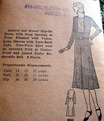 RARE VTG 1930s DRESS Sewing Pattern 17/35 OLD DEADSTOCK