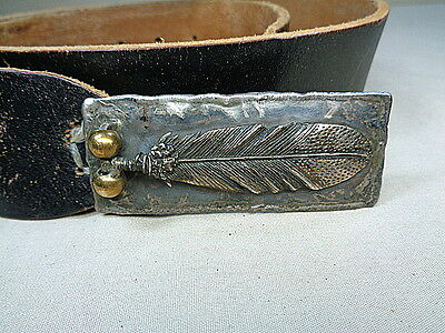 Old Sterling Native American Feather Buckle w Belt