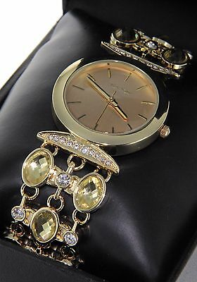 Women Luxury Gold Plated Iced Out Clear Cubic Zirconia & Rhinestone Band Watch