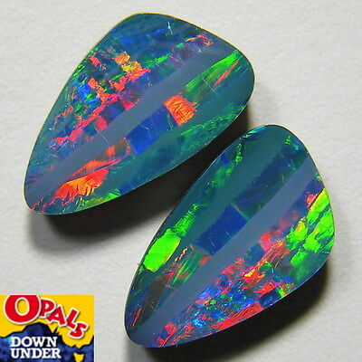 Stunning Multi-Colored 6ct Australian Coober Pedy Opal Doublet Split Pair