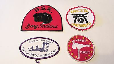 Vintage Karate Patches Lot Of 4 D.s.k. Gary Indiana, 1989 Champ, Midwest Circuit