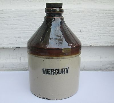 Vintage Mercury Stoneware Crock Jug Pharmacy Drugstore Glazed Pottery