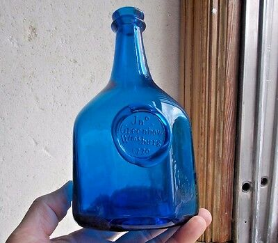 Sapphire Blue Jno Greenhow Williamsburg 1770 Applied Seal 8 Sided Repro Bottle
