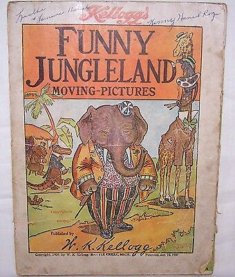 1909 Book-Funny Jungleland Moving Pictures-Kellogg-Battle Creek-Animals-Child