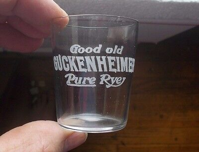 Good Old Guckenheimer Pure Rye Etched Pre Pro Whiskey Shot Glass Pittsburg 1908