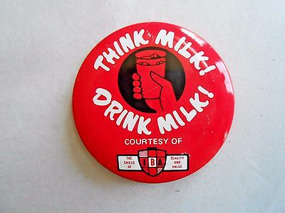 Cool Vintage IBA Dairy Farm Think Milk Drink Milk Advertising Pinback