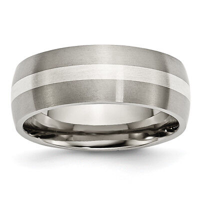 Titanium Sterling Silver Inlay 8mm Brushed Band TB211