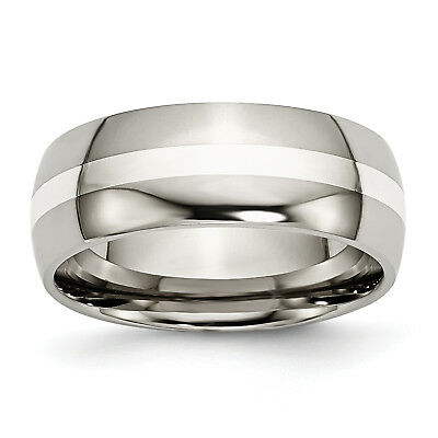 Titanium Sterling Silver Inlay 8mm Polished Band TB212