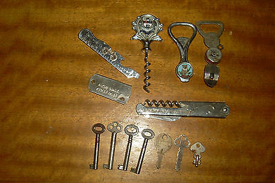 Small Collection of Vintage Advertising Bottle Openers & Old Keys