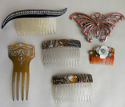 LOT of 6 ART DECO Celluloid Hair Comb w RHINESTONES + Made In FRANCE COMBS