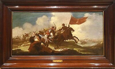 Fine Large 17th Century French Old Master Battle War Landscape Cavalry Painting