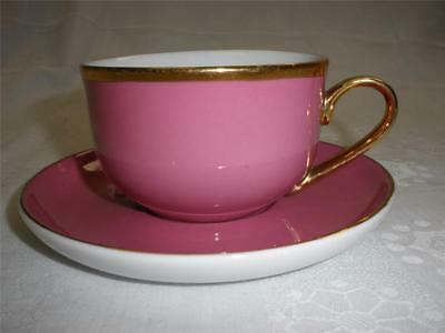 Fabulous Porcelain Cup And Saucer Cherry Pink China