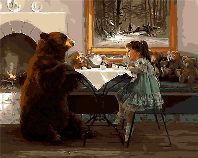 Framed Paint by Number kit Little Girl and Bear Painting Wall Decor DZ7156