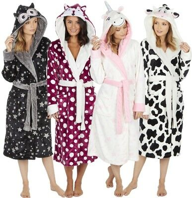 Ladies Soft & Cosy Hooded Winter Fleece Dressing Gown Robe