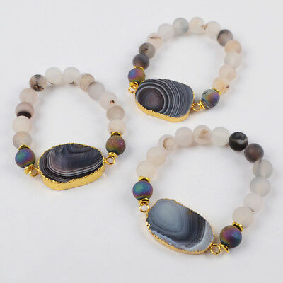 5Pcs Botswana Agate & 10mm Frosted Matte Agate Bracelet Gold Plated HOT BG1397