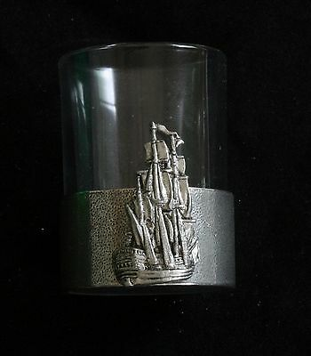 Galleon Shot Glass Pewter Based Round 50 ml Sailing Gift