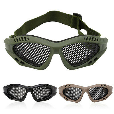 Tactical Motorcycle Airsoft Eye Protection Goggles Anti Fog Mesh Metal Glasses