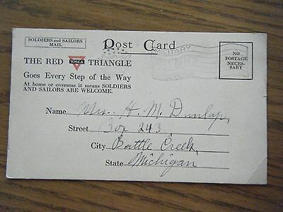 """Ambulance Service In Italy """"War Zone Italy"""" arrival card from Battle Creek, Mich"""