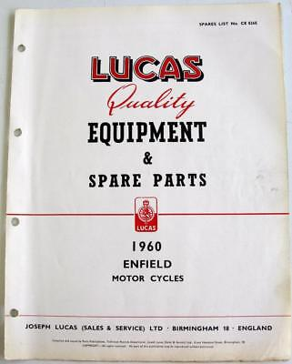 Lucas ROYAL ENFIELD Electrics Motorcycle Equipment & Spare Parts 1960 #CE 826E