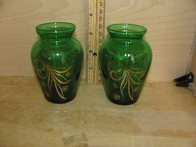"VINTAGE Pair of  SMALL 4"" BUD VASE EMERALD GREEN GLASS W/ GOLD SWIRL TRIM • $5.99"